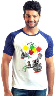 6thCross Graphic Print Men's Round Neck Multicolor T-Shirt