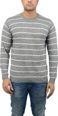 Blue Heaven Striped Men's Round Neck Grey, White T-Shirt