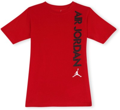 Jordan Graphic Print Boy's Round Neck Red T-Shirt