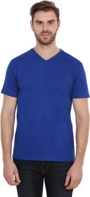 CNMN Solid Men's V-neck Blue T-Shirt