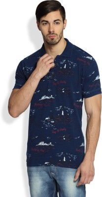 Difference of Opinion Printed Men's Polo Neck Blue T-Shirt