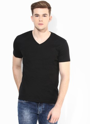 Mundus Vici Solid Men,s, Women's V-neck Black T-Shirt
