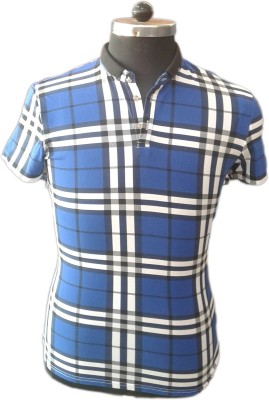 TOC Self Design Men's Round Neck Blue T-Shirt