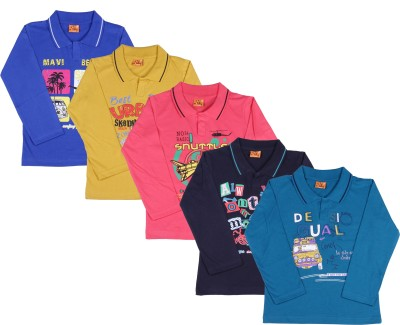 Provalley Printed Boy's Polo Neck Multicolor T-Shirt