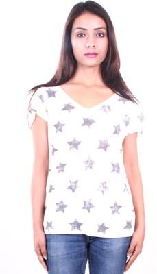 AR2 Printed Women's V-neck White T-Shirt