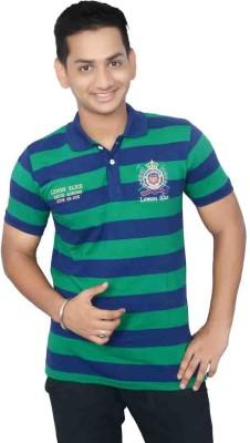 Lemon Slice Striped Men's Polo Neck Dark Blue, Green T-Shirt