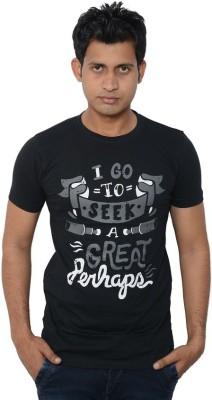 Lampara Printed Men's Round Neck Black T-Shirt