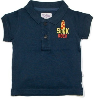Solittle Embroidered Boy,s Polo Neck Dark Blue T-Shirt