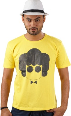 Indophile - Natural Fashion Printed Men's Round Neck Yellow T-Shirt