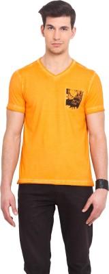 Smokestack Printed Men's V-neck Orange T-Shirt