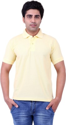 Be Grateful Solid Men's Polo Neck Yellow T-Shirt