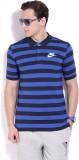 Nike Striped Men's Polo Neck Blue T-Shir...