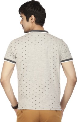 ACROPOLIS by Shoppers Stop Printed Men's Polo Grey T-Shirt