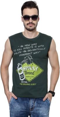 People Printed Men's Round Neck Dark Green T-Shirt