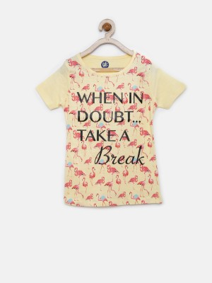 YK Printed Girl's Round Neck Yellow T-Shirt