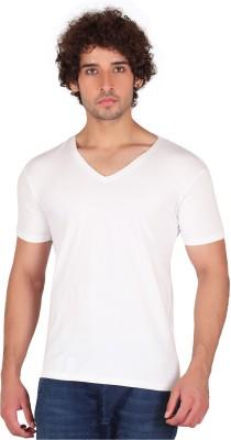 Anger Beast Solid Men's V-neck White T-Shirt