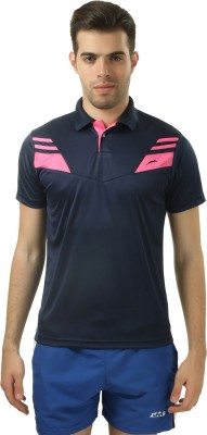 Stag Printed Men's Polo Neck Blue, Pink T-Shirt