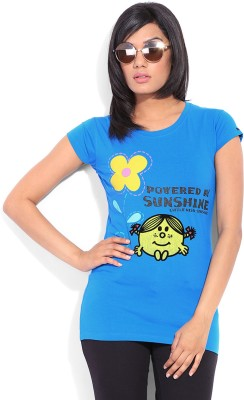 Mr. Men Little Miss Printed Women's Round Neck Blue T-Shirt