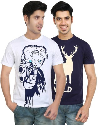 Algotton Graphic Print Men,s Round Neck White, Blue T-Shirt