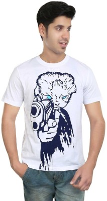 Algotton Graphic Print Men,s Round Neck White T-Shirt
