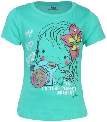 Bells and Whistles Printed Girl's Round Neck Green T-Shirt