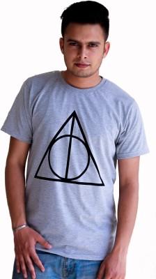 Hookard Graphic Print Men,s Round Neck Grey T-Shirt