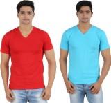 Lyril Solid Men's V-neck Red, Blue T-Shi...