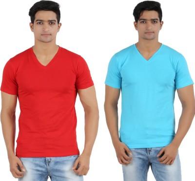 Lyril Solid Men's V-neck Red, Blue T-Shirt