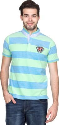Fort Collins Striped Men's Fashion Neck Green T-Shirt