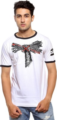 Avejack Graphic Print Men's Round Neck White T-Shirt