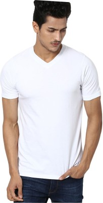 Dizionario Solid Men's V-neck White T-Shirt