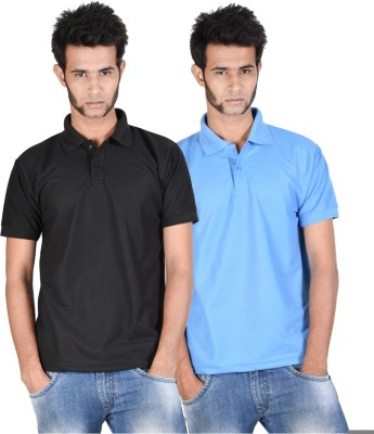 Whistle Solid Men's Polo Neck Black, Light Blue T-Shirt