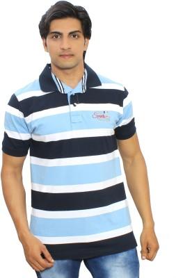 Thread Craft Striped Men's Polo Neck Blue T-Shirt