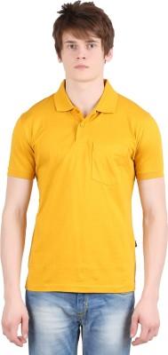 Moonwalker Solid Men's Polo Neck Yellow T-Shirt