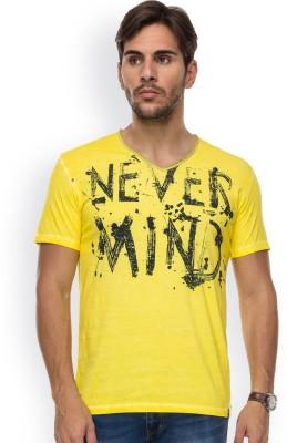 Blue Monkey Self Design Men's Fashion Neck Yellow T-Shirt