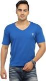 Byrock Solid Men's V-neck Blue T-Shirt