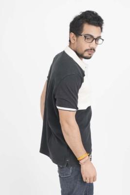 Petroficio Solid Men's Polo Neck Black T-Shirt