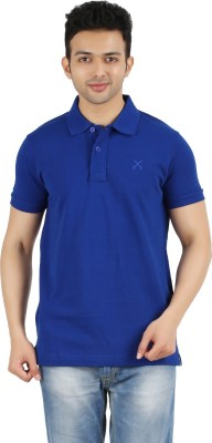 Maniak Solid Men's Polo Neck Blue T-Shirt