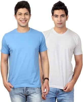 Top Notch Solid Men's Round Neck Light Blue, White T-Shirt