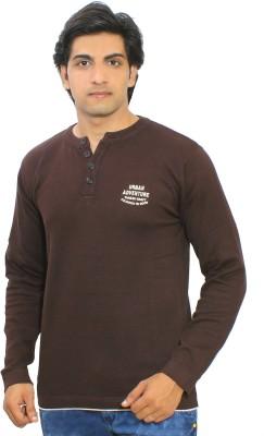 Thread Craft Solid Men's Henley Brown T-Shirt