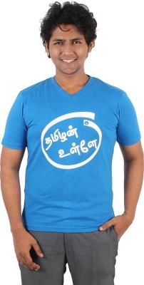 Vilva Printed Men's V-neck Blue T-Shirt