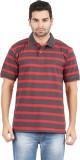 Danteez Striped Men's Polo Neck Brown T-...