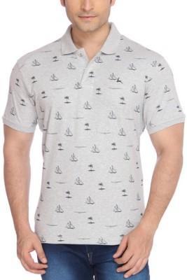 Parx Printed Men's Flap Collar Neck Blue T-Shirt