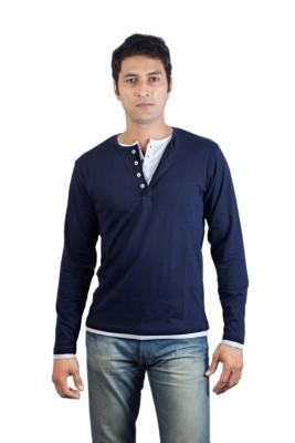 Vagga Solid Men's Henley Blue, White T-Shirt