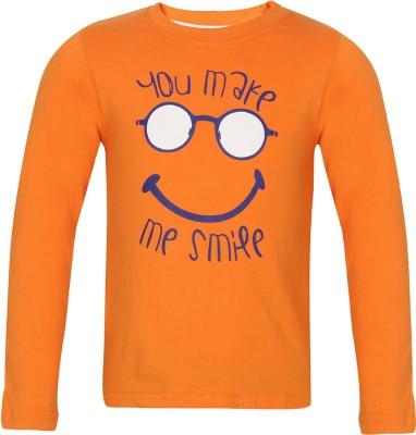 Tickles Printed Baby Boy's Round Neck Orange T-Shirt