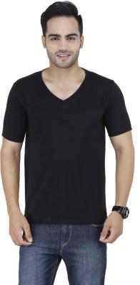 Stylogue Solid Men's V-neck Black T-Shirt