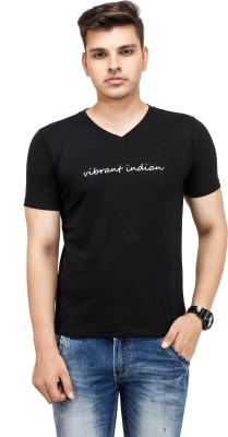 Yuvi Solid Men's V-neck Black T-Shirt
