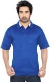 Thinc Solid Men's Polo Neck Blue T-Shirt