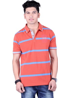 Numalo Striped, Embroidered Men's Polo Neck Orange, Blue T-Shirt
