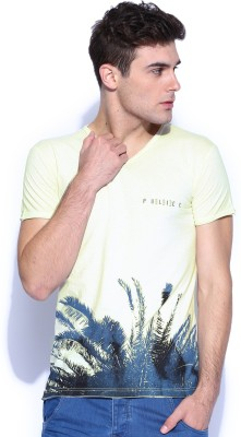 883 Police Graphic Print Men's V-neck White T-Shirt